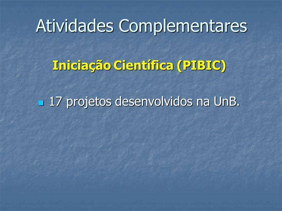 Atividades Complementares Iniciação Científica (PIBIC) 17 projetos desenvolvidos na UnB. 17 projetos desenvolvidos na UnB.