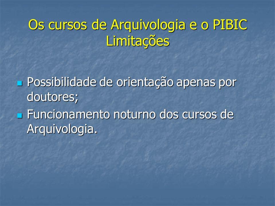 Os cursos de Arquivologia e o PIBIC Limitações Possibilidade de orientação apenas por doutores; Possibilidade de orientação apenas por doutores; Funci