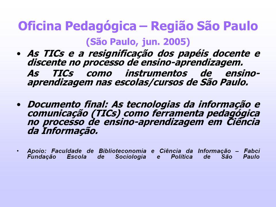 Oficina Pedagógica – Região São Paulo (São Paulo, jun. 2005) As TICs e a resignificação dos papéis docente e discente no processo de ensino-aprendizag