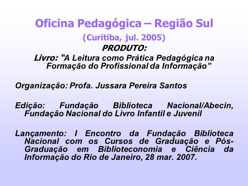 Oficina Pedagógica – Região Sul (Curitiba, jul. 2005) PRODUTO: Livro: A Leitura como Prática Pedagógica na Formação do Profissional da Informação Orga