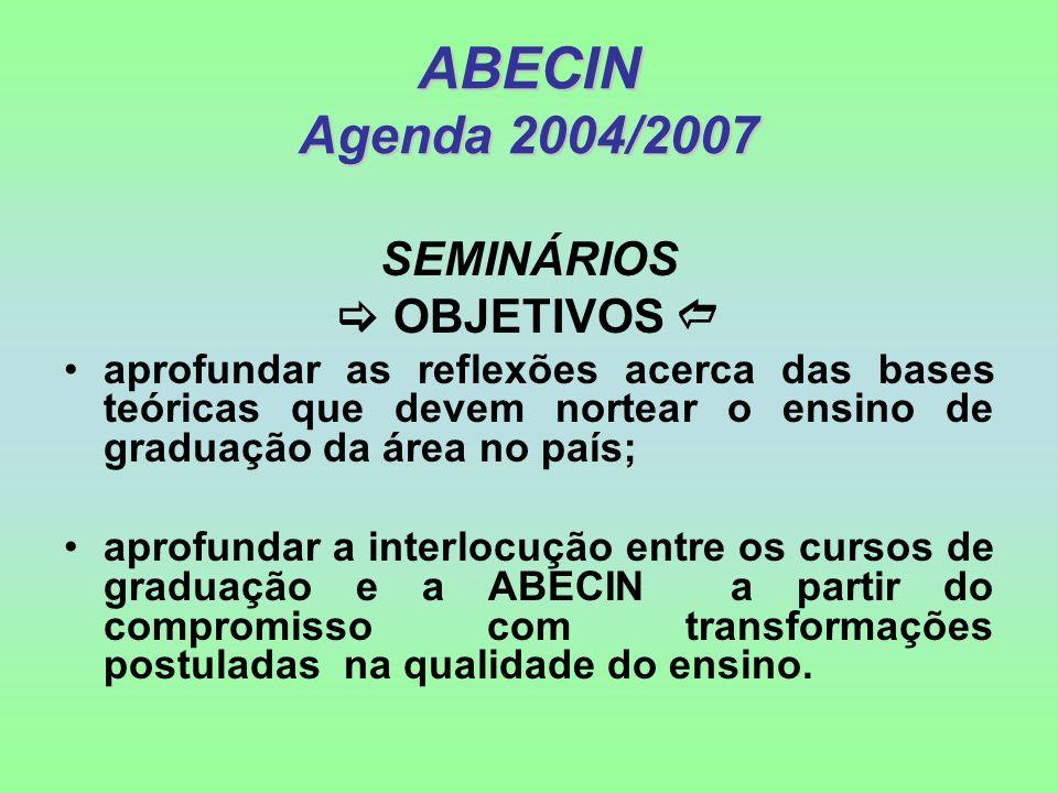 ABECIN Agenda 2004/2007 SEMINÁRIOS OBJETIVOS aprofundar as reflexões acerca das bases teóricas que devem nortear o ensino de graduação da área no país