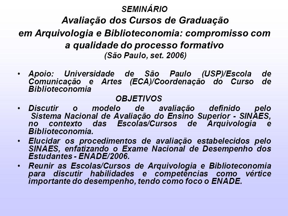 SEMINÁRIO Avaliação dos Cursos de Graduação em Arquivologia e Biblioteconomia: compromisso com a qualidade do processo formativo (São Paulo, set. 2006