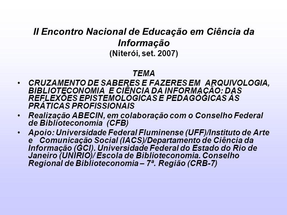 II Encontro Nacional de Educação em Ciência da Informação (Niterói, set. 2007) TEMA CRUZAMENTO DE SABERES E FAZERES EM ARQUIVOLOGIA, BIBLIOTECONOMIA E