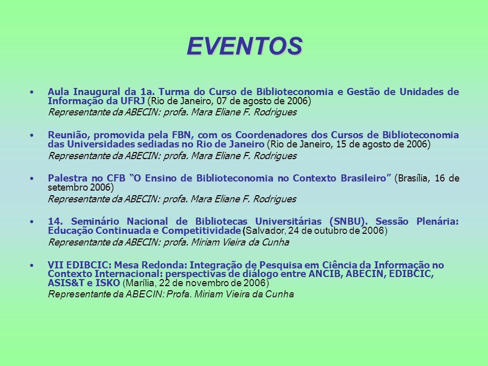 EVENTOS Aula Inaugural da 1a. Turma do Curso de Biblioteconomia e Gestão de Unidades de Informação da UFRJ (Rio de Janeiro, 07 de agosto de 2006) Repr