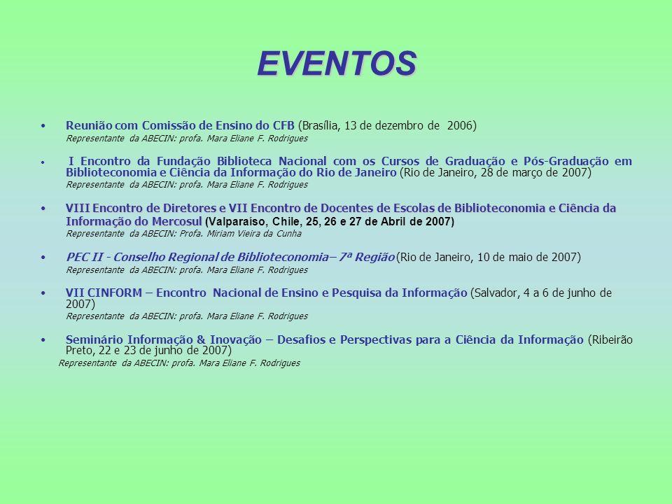 EVENTOS Reunião com Comissão de Ensino do CFB (Brasília, 13 de dezembro de 2006) Representante da ABECIN: profa. Mara Eliane F. Rodrigues I Encontro d