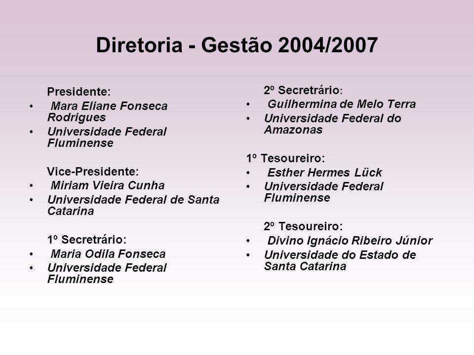 Diretoria - Gestão 2004/2007 Presidente: Mara Eliane Fonseca Rodrigues Universidade Federal Fluminense Vice-Presidente: Miriam Vieira Cunha Universida