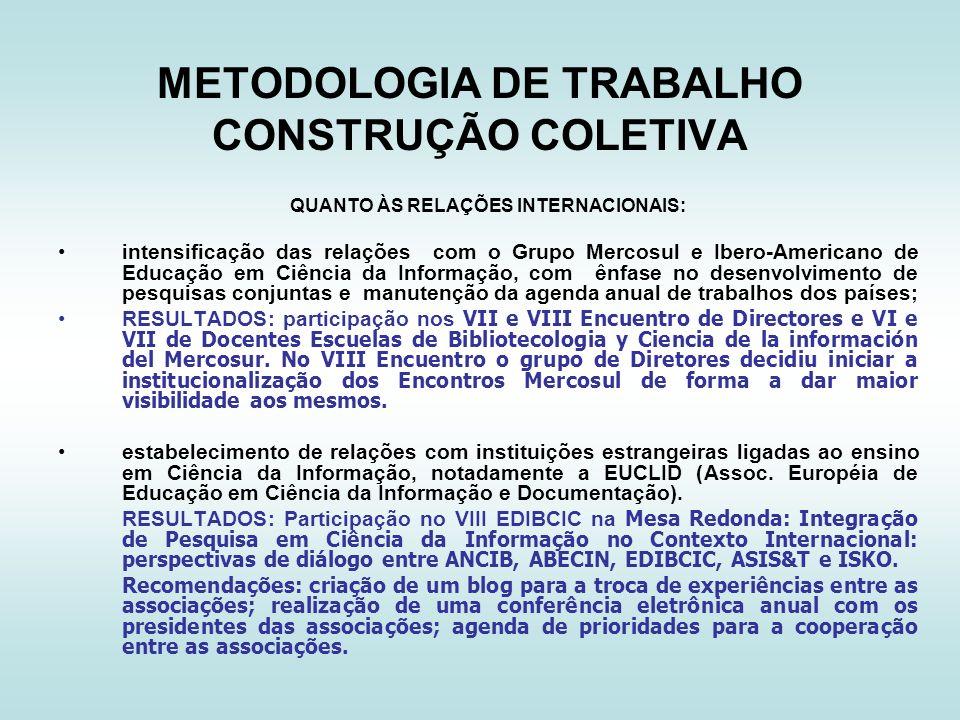 METODOLOGIA DE TRABALHO CONSTRUÇÃO COLETIVA QUANTO ÀS RELAÇÕES INTERNACIONAIS: intensificação das relações com o Grupo Mercosul e Ibero-Americano de E