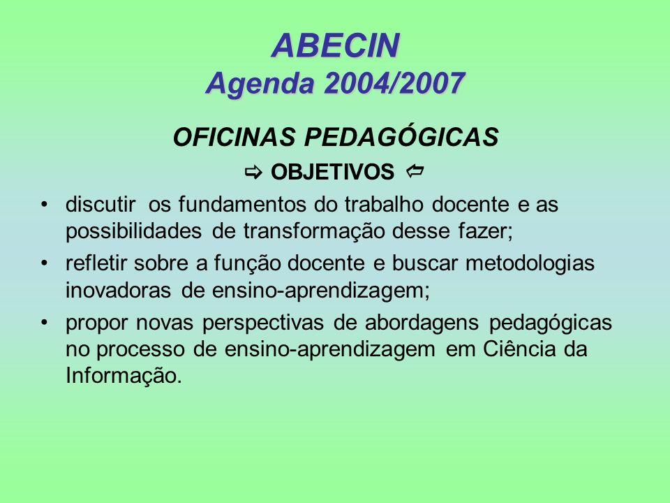 ABECIN Agenda 2004/2007 OFICINAS PEDAGÓGICAS OBJETIVOS discutir os fundamentos do trabalho docente e as possibilidades de transformação desse fazer; r