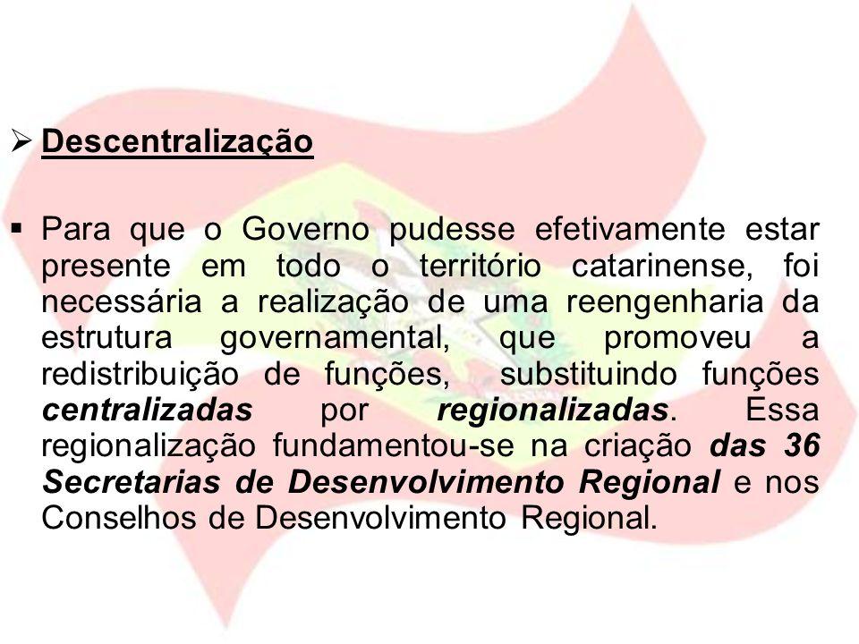 Descentralização Para que o Governo pudesse efetivamente estar presente em todo o território catarinense, foi necessária a realização de uma reengenha