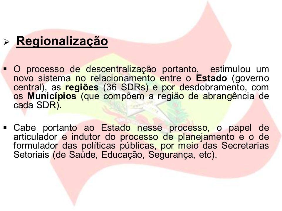 Regionalização O processo de descentralização portanto, estimulou um novo sistema no relacionamento entre o Estado (governo central), as regiões (36 S