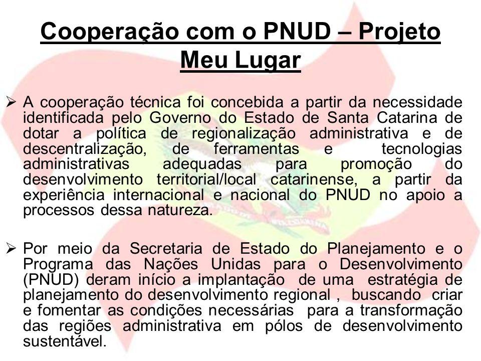 Cooperação com o PNUD – Projeto Meu Lugar A cooperação técnica foi concebida a partir da necessidade identificada pelo Governo do Estado de Santa Cata