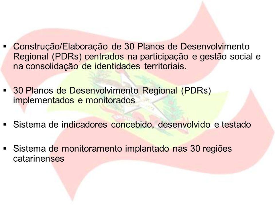 Construção/Elaboração de 30 Planos de Desenvolvimento Regional (PDRs) centrados na participação e gestão social e na consolidação de identidades terri