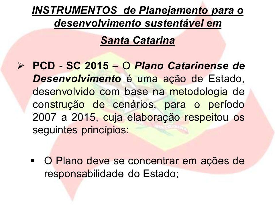 PCD - SC 2015 – O Plano Catarinense de Desenvolvimento é uma ação de Estado, desenvolvido com base na metodologia de construção de cenários, para o pe