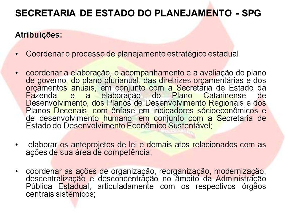 SECRETARIA DE ESTADO DO PLANEJAMENTO - SPG Atribuições: Coordenar o processo de planejamento estratégico estadual coordenar a elaboração, o acompanham