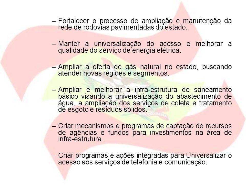–Fortalecer o processo de ampliação e manutenção da rede de rodovias pavimentadas do estado. –Manter a universalização do acesso e melhorar a qualidad