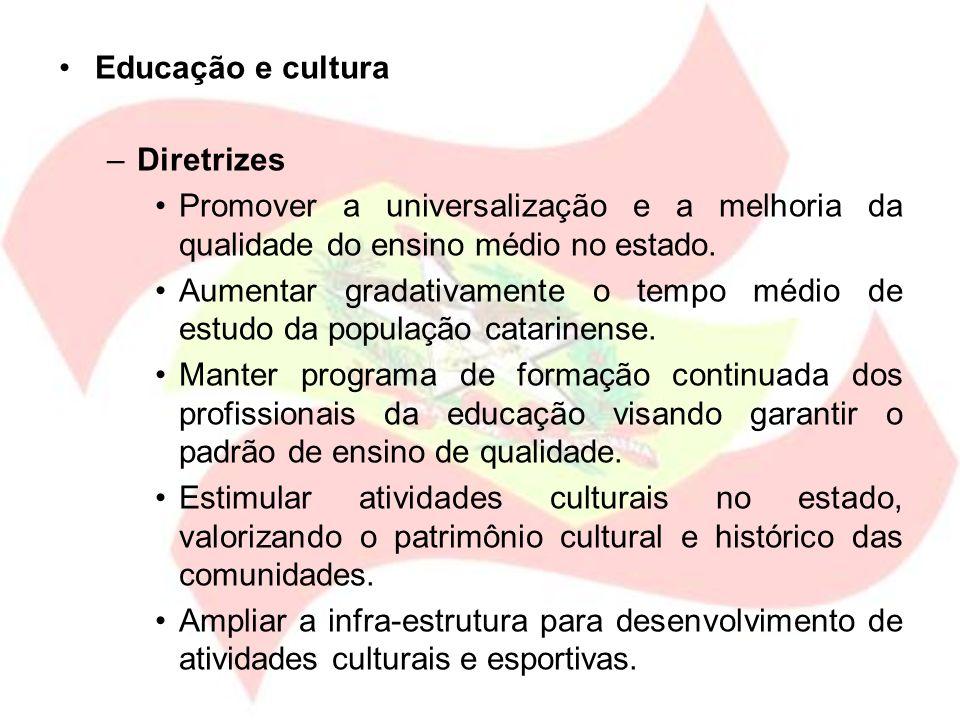 Educação e cultura –Diretrizes Promover a universalização e a melhoria da qualidade do ensino médio no estado. Aumentar gradativamente o tempo médio d