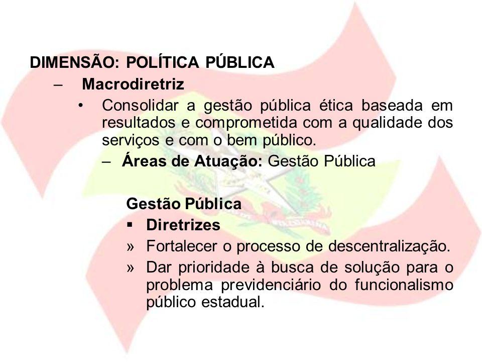 DIMENSÃO: POLÍTICA PÚBLICA –Macrodiretriz Consolidar a gestão pública ética baseada em resultados e comprometida com a qualidade dos serviços e com o