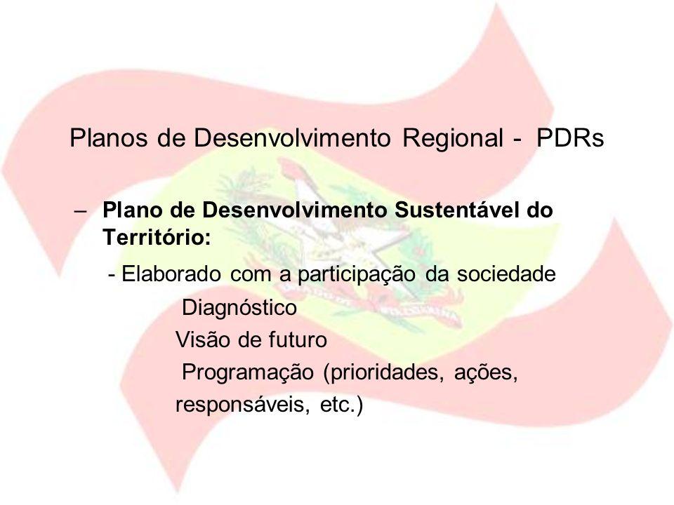 Planos de Desenvolvimento Regional - PDRs –Plano de Desenvolvimento Sustentável do Território: - Elaborado com a participação da sociedade Diagnóstico