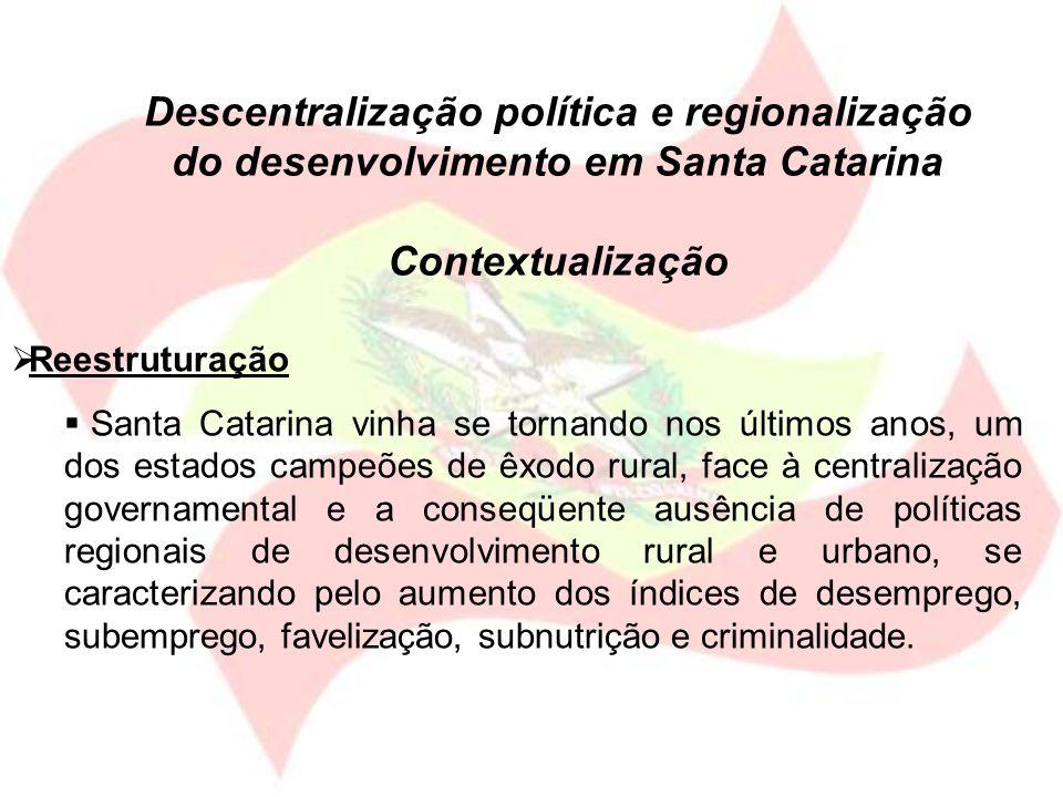 Descentralização política e regionalização do desenvolvimento em Santa Catarina Contextualização Reestruturação Santa Catarina vinha se tornando nos ú