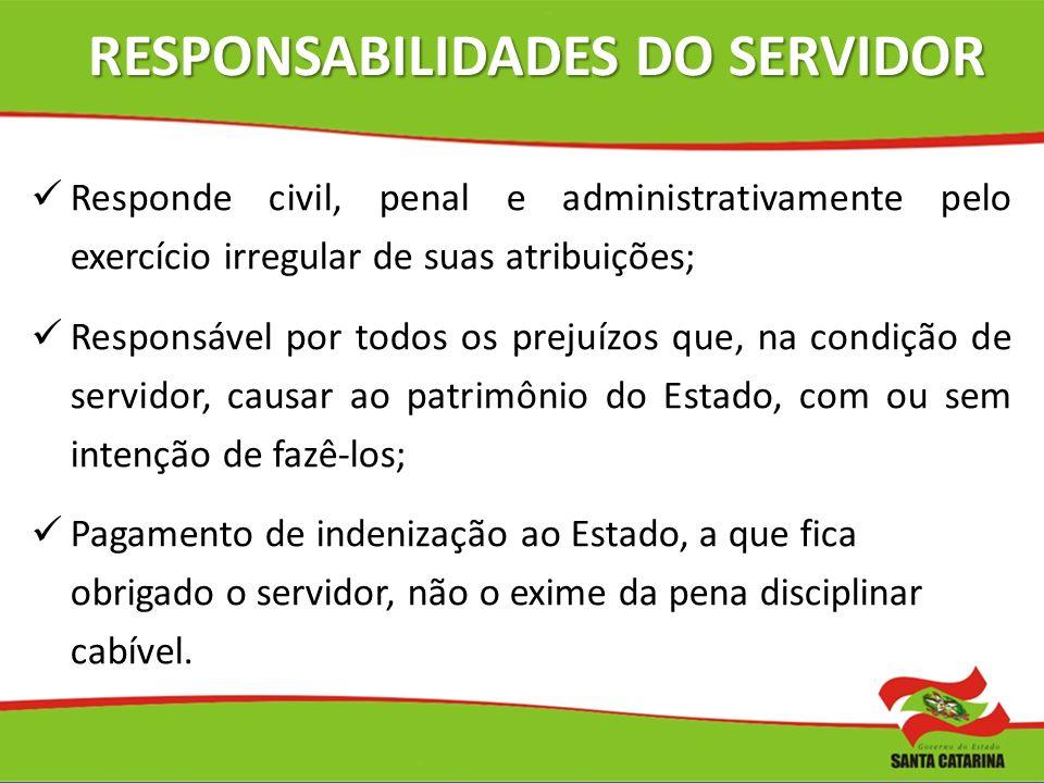 RESPONSABILIDADES DO SERVIDOR Responde civil, penal e administrativamente pelo exercício irregular de suas atribuições; Responsável por todos os preju