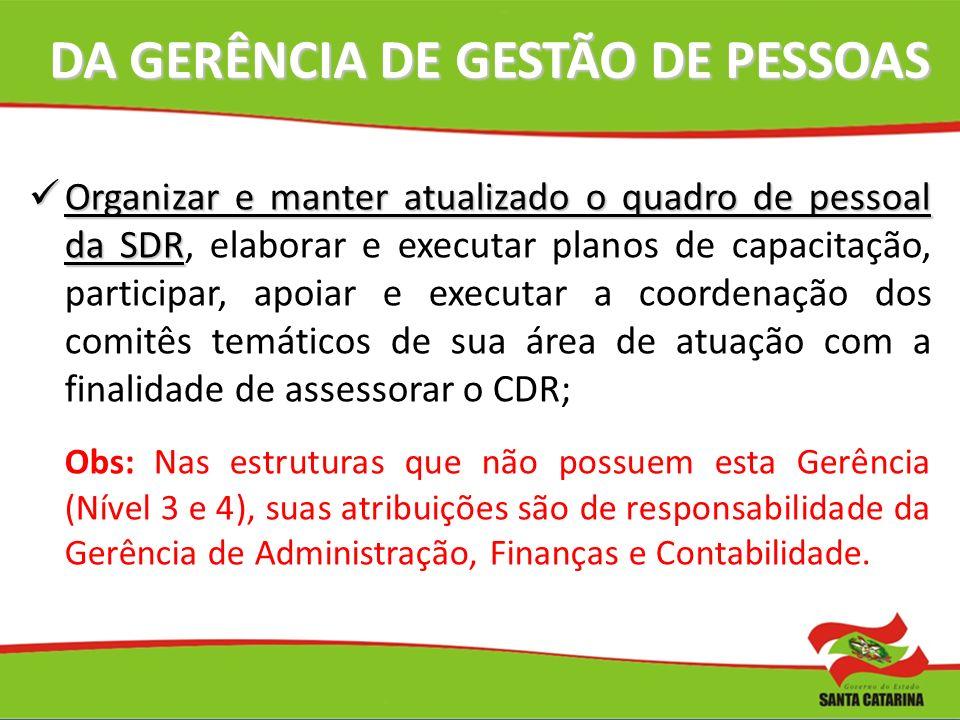 DA GERÊNCIA DE GESTÃO DE PESSOAS DA GERÊNCIA DE GESTÃO DE PESSOAS Organizar e manter atualizado o quadro de pessoal da SDR Organizar e manter atualiza