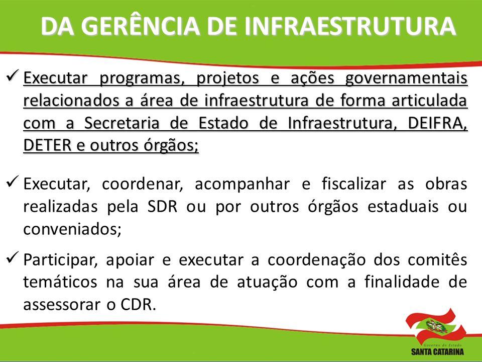 DA GERÊNCIA DE INFRAESTRUTURA Executar programas, projetos e ações governamentais relacionados a área de infraestrutura de forma articulada com a Secr
