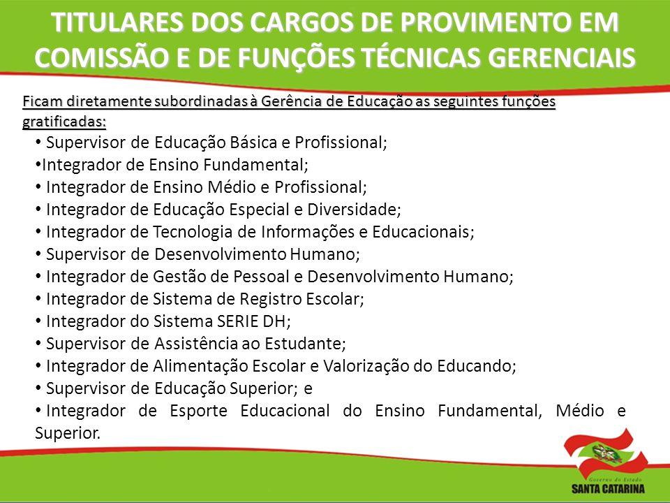 TITULARES DOS CARGOS DE PROVIMENTO EM COMISSÃO E DE FUNÇÕES TÉCNICAS GERENCIAIS Ficam diretamente subordinadas à Gerência de Educação as seguintes fun