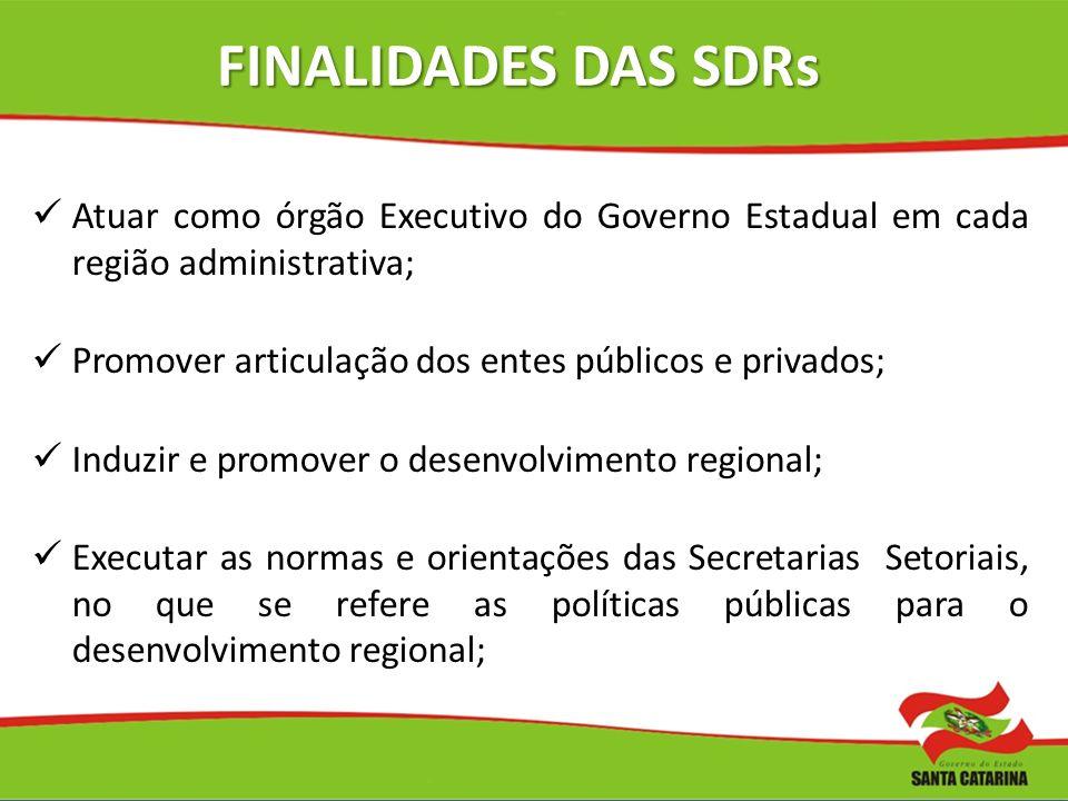 FINALIDADES DAS SDRs Atuar como órgão Executivo do Governo Estadual em cada região administrativa; Promover articulação dos entes públicos e privados;