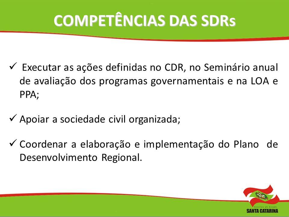 COMPETÊNCIAS DAS SDRs Executar as ações definidas no CDR, no Seminário anual de avaliação dos programas governamentais e na LOA e PPA; Apoiar a socied