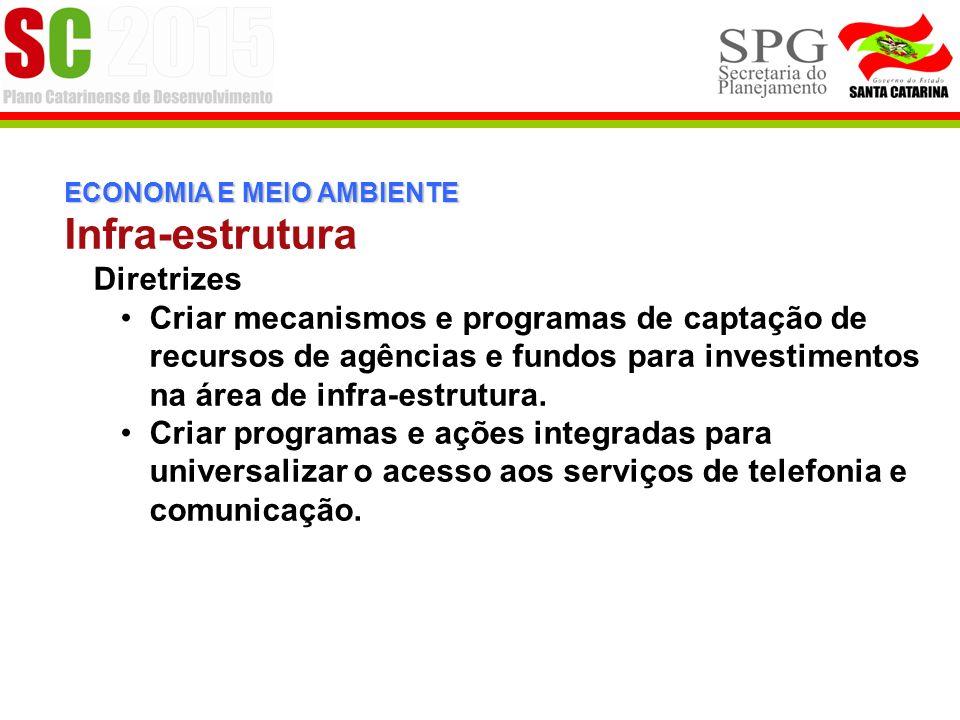 ECONOMIA E MEIO AMBIENTE Infra-estrutura Diretrizes Criar mecanismos e programas de captação de recursos de agências e fundos para investimentos na área de infra-estrutura.