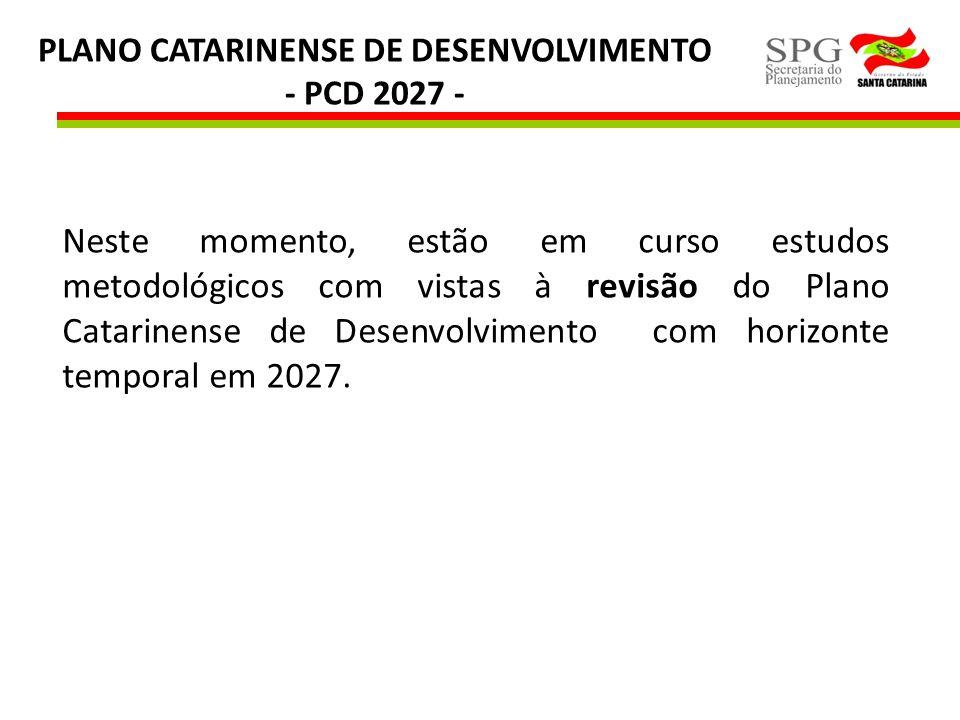PLANO CATARINENSE DE DESENVOLVIMENTO - PCD 2027 - Neste momento, estão em curso estudos metodológicos com vistas à revisão do Plano Catarinense de Des