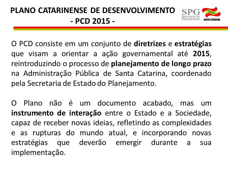 PLANO CATARINENSE DE DESENVOLVIMENTO - PCD 2015 - O PCD consiste em um conjunto de diretrizes e estratégias que visam a orientar a ação governamental