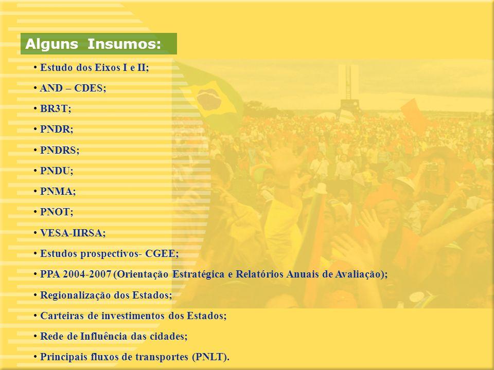 11 Estudo dos Eixos I e II; AND – CDES; BR3T; PNDR; PNDRS; PNDU; PNMA; PNOT; VESA-IIRSA; Estudos prospectivos- CGEE; PPA 2004-2007 (Orientação Estratégica e Relatórios Anuais de Avaliação); Regionalização dos Estados; Carteiras de investimentos dos Estados; Rede de Influência das cidades; Principais fluxos de transportes (PNLT).