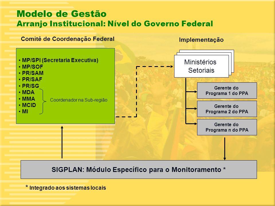 18 Modelo de Gestão Arranjo Institucional: Nível do Governo Federal Comitê de Coordenação Federal Implementação Ministérios Setoriais Gerente do Programa 1 do PPA Gerente do Programa 2 do PPA SIGPLAN: Módulo Específico para o Monitoramento * MP/SPI (Secretaria Executiva) MP/SOF PR/SAM PR/SAF PR/SG MDA MMA MCID MI * Integrado aos sistemas locais Coordenador na Sub-região Gerente do Programa n do PPA