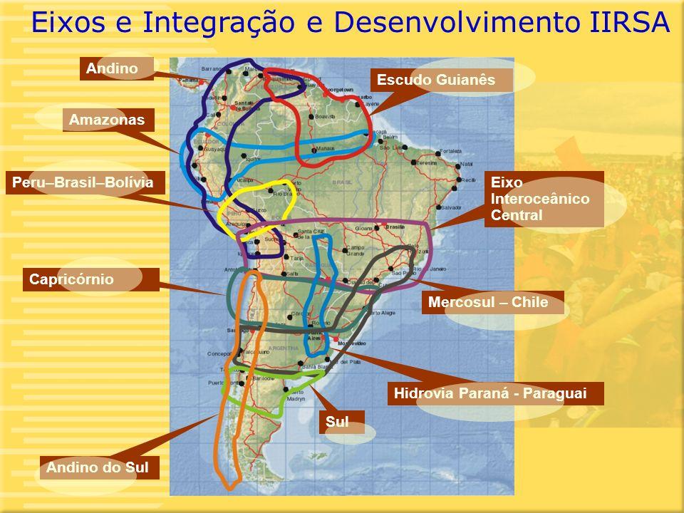 4 Mercosul – Chile Andino Eixo Interoceânico Central Amazonas Escudo Guianês Capricórnio Peru–Brasil–Bolívia Sul Hidrovia Paraná - Paraguai Andino do Sul Eixos e Integração e Desenvolvimento IIRSA
