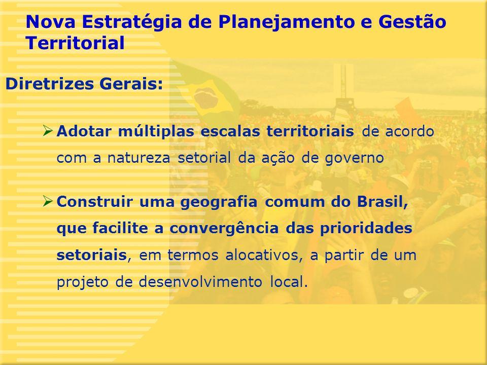 5 Adotar múltiplas escalas territoriais de acordo com a natureza setorial da ação de governo Construir uma geografia comum do Brasil, que facilite a convergência das prioridades setoriais, em termos alocativos, a partir de um projeto de desenvolvimento local.