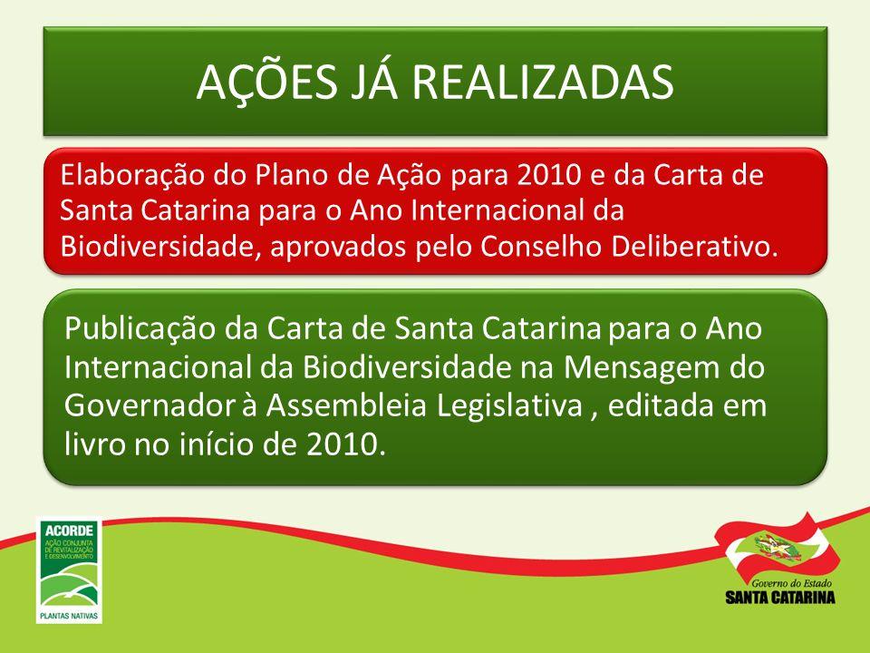 AÇÕES JÁ REALIZADAS Elaboração do Plano de Ação para 2010 e da Carta de Santa Catarina para o Ano Internacional da Biodiversidade, aprovados pelo Cons