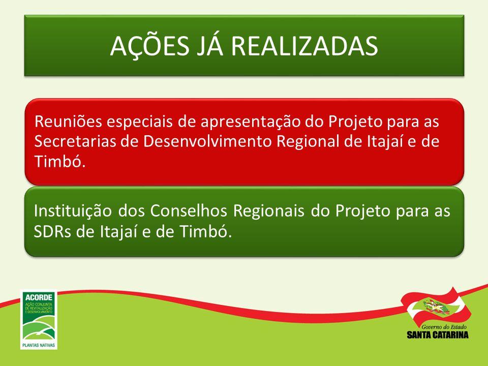 AÇÕES JÁ REALIZADAS Reuniões especiais de apresentação do Projeto para as Secretarias de Desenvolvimento Regional de Itajaí e de Timbó. Instituição do