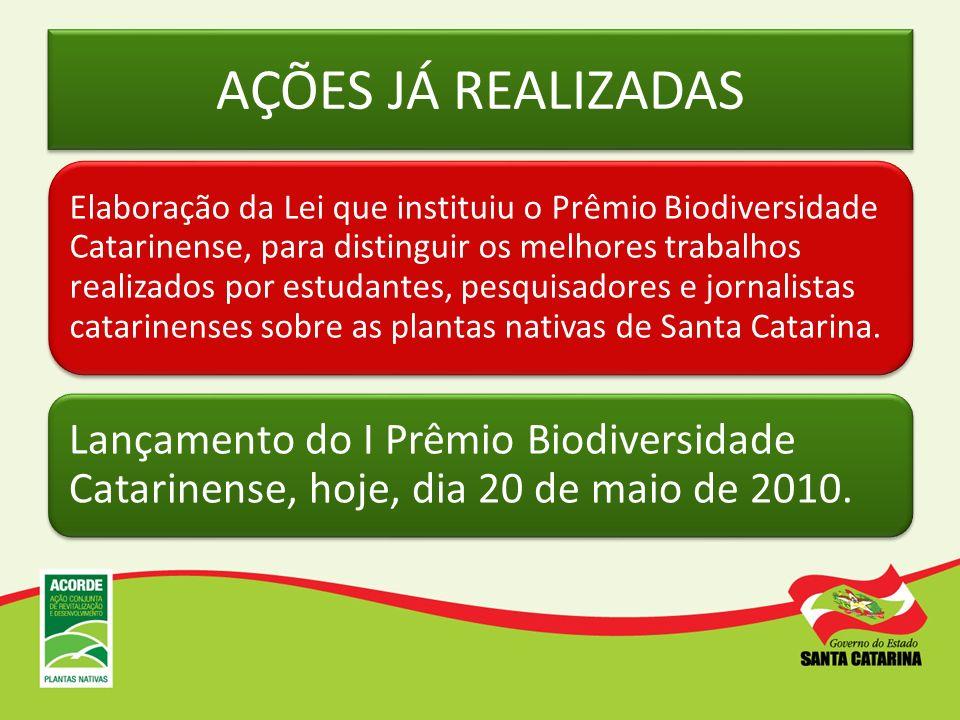 AÇÕES JÁ REALIZADAS Elaboração da Lei que instituiu o Prêmio Biodiversidade Catarinense, para distinguir os melhores trabalhos realizados por estudant