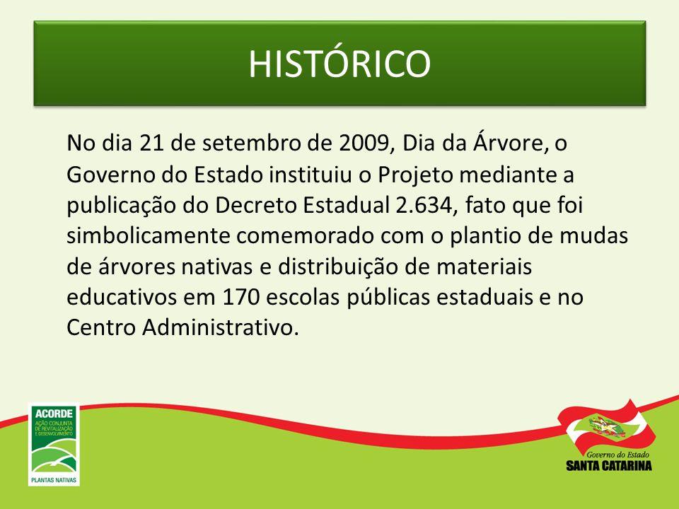 HISTÓRICO No dia 21 de setembro de 2009, Dia da Árvore, o Governo do Estado instituiu o Projeto mediante a publicação do Decreto Estadual 2.634, fato