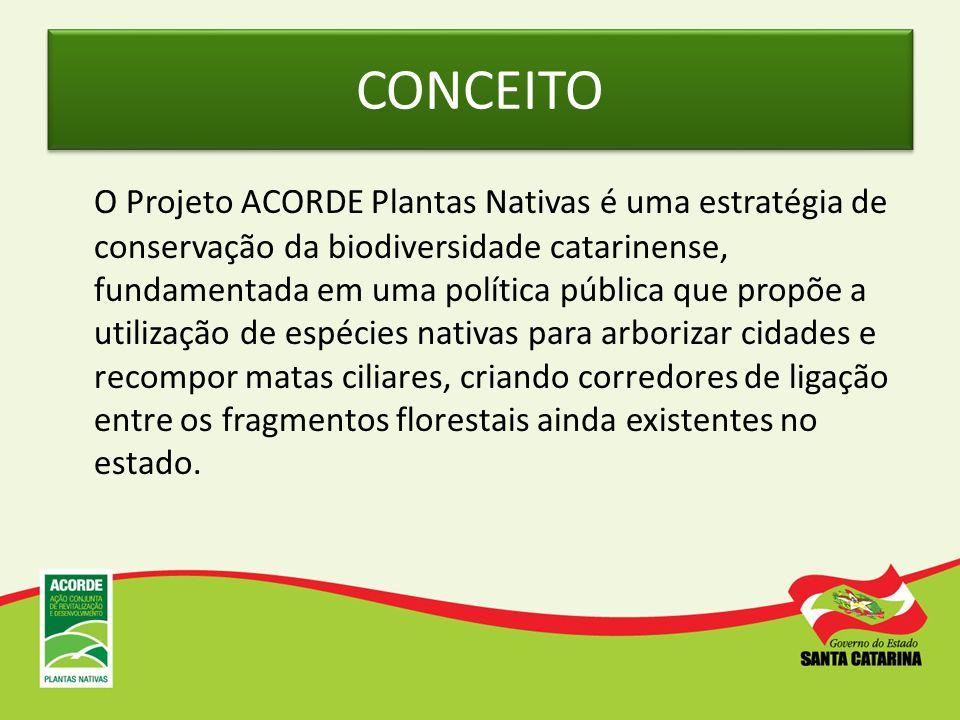 CONCEITO O Projeto ACORDE Plantas Nativas é uma estratégia de conservação da biodiversidade catarinense, fundamentada em uma política pública que prop