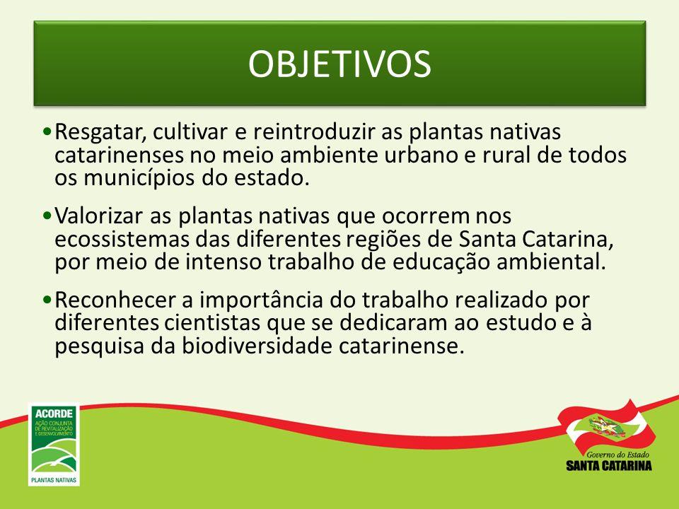 OBJETIVOS Resgatar, cultivar e reintroduzir as plantas nativas catarinenses no meio ambiente urbano e rural de todos os municípios do estado. Valoriza