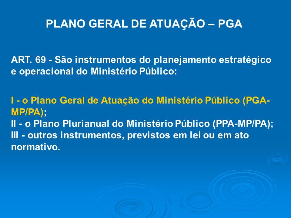 PLANO GERAL DE ATUAÇÃO – PGA ART. 69 - São instrumentos do planejamento estratégico e operacional do Ministério Público: I - o Plano Geral de Atuação