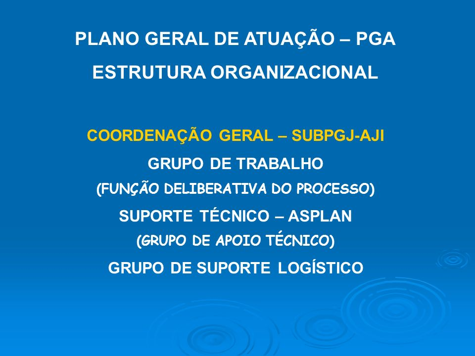 PLANO GERAL DE ATUAÇÃO – PGA ESTRUTURA ORGANIZACIONAL COORDENAÇÃO GERAL – SUBPGJ-AJI GRUPO DE TRABALHO (FUNÇÃO DELIBERATIVA DO PROCESSO) SUPORTE TÉCNICO – ASPLAN (GRUPO DE APOIO TÉCNICO) GRUPO DE SUPORTE LOGÍSTICO