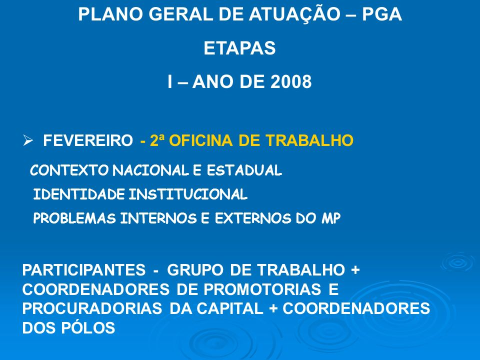 PLANO GERAL DE ATUAÇÃO – PGA ETAPAS I – ANO DE 2008 MARÇO – TERMO DE REFERÊNCIA DO PGA ELABORAÇÃO – CAO (COM APOIO DO GRUPO TÉCNICO) ABRIL/MAIO – PREPARAÇÃO DA OITIVA DA SOCIEDADE – CONSULTA E AUDIÊNCIA PÚBLICA - REUNIÃO COM OS COORDENADORES DE POLOS SEDE DAS AUDIÊNCIAS - REUNIÃO COM TODOS OS COORDENADORES DE POLOS + PROCURADORES E PROMOTORES DA CAPITAL - PREPARAÇÃO DOS DOCUMENTOS NECESSÁRIOS
