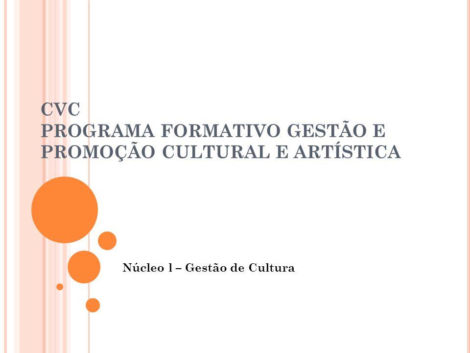 CVC PROGRAMA FORMATIVO GESTÃO E PROMOÇÃO CULTURAL E ARTÍSTICA Núcleo l – Gestão de Cultura