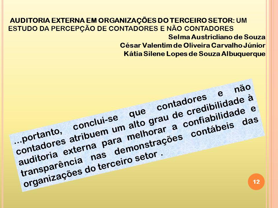 12 AUDITORIA EXTERNA EM ORGANIZAÇÕES DO TERCEIRO SETOR: UM ESTUDO DA PERCEPÇÃO DE CONTADORES E NÃO CONTADORES Selma Austricliano de Souza César Valent