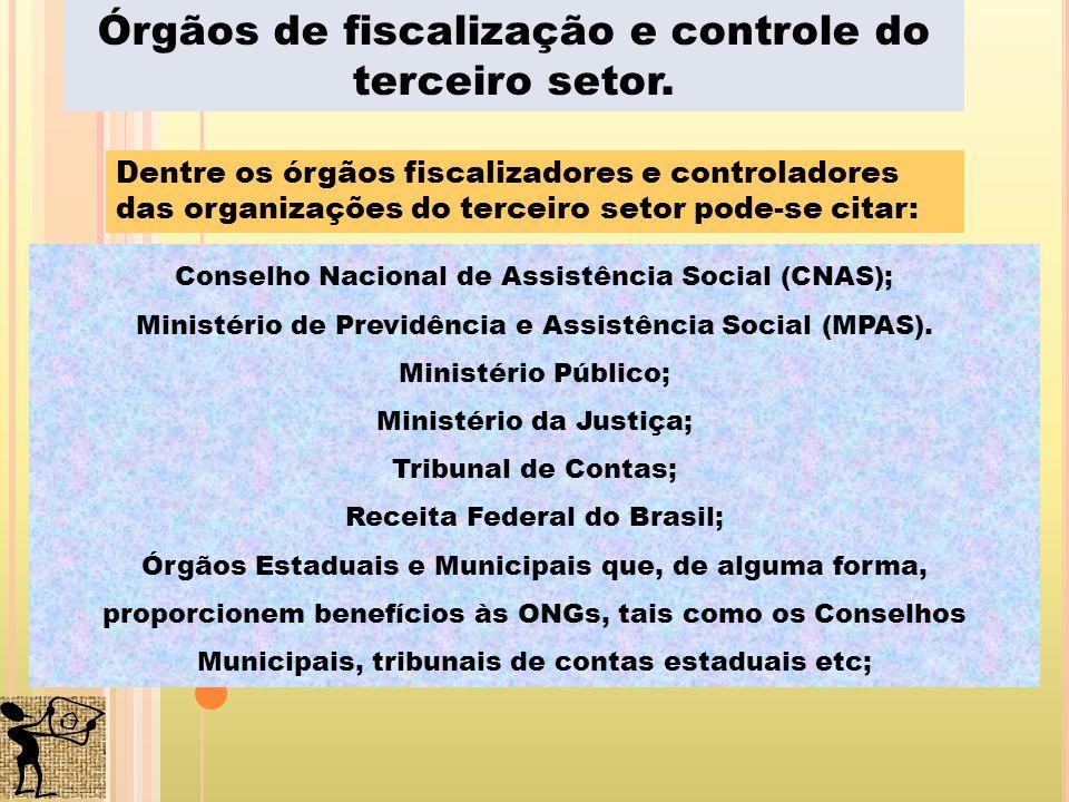 Dentre os órgãos fiscalizadores e controladores das organizações do terceiro setor pode-se citar: Conselho Nacional de Assistência Social (CNAS); Mini