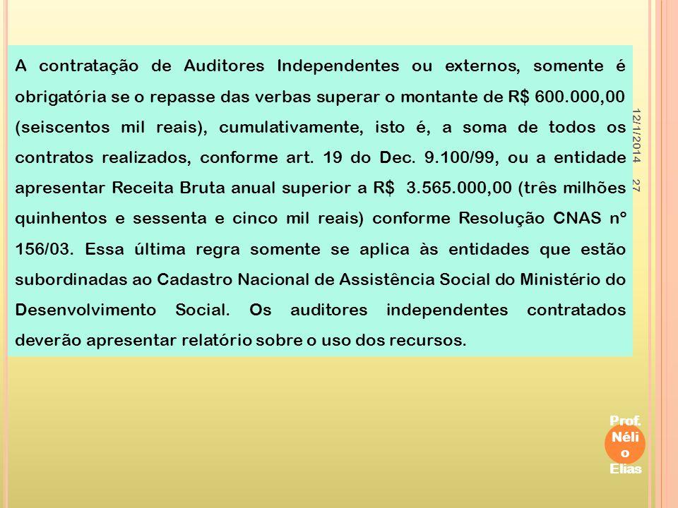 12/1/2014 Prof. Néli o Elias 27 A contratação de Auditores Independentes ou externos, somente é obrigatória se o repasse das verbas superar o montante