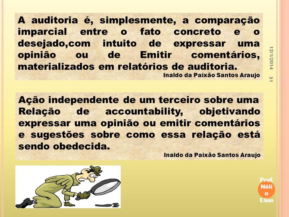 12/1/2014 Prof. Néli o Elias 31 A auditoria é, simplesmente, a comparação imparcial entre o fato concreto e o desejado,com intuito de expressar uma op